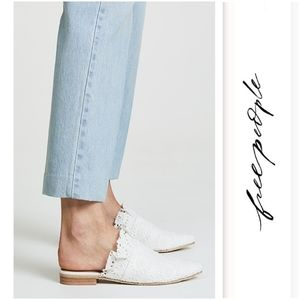 Pretty White Eyelet Free People Mules